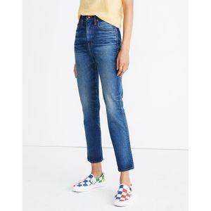MADEWELL RIVET & THREAD High Rise Stovepipe Slim Straight Leg Dark Wash Jeans